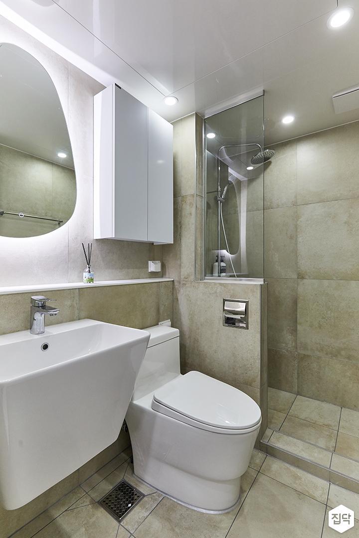 화이트,그레이,빈티지,뉴클래식,욕실,포세린,매립등,간접조명,수납장,유리파티션,세면대,거울