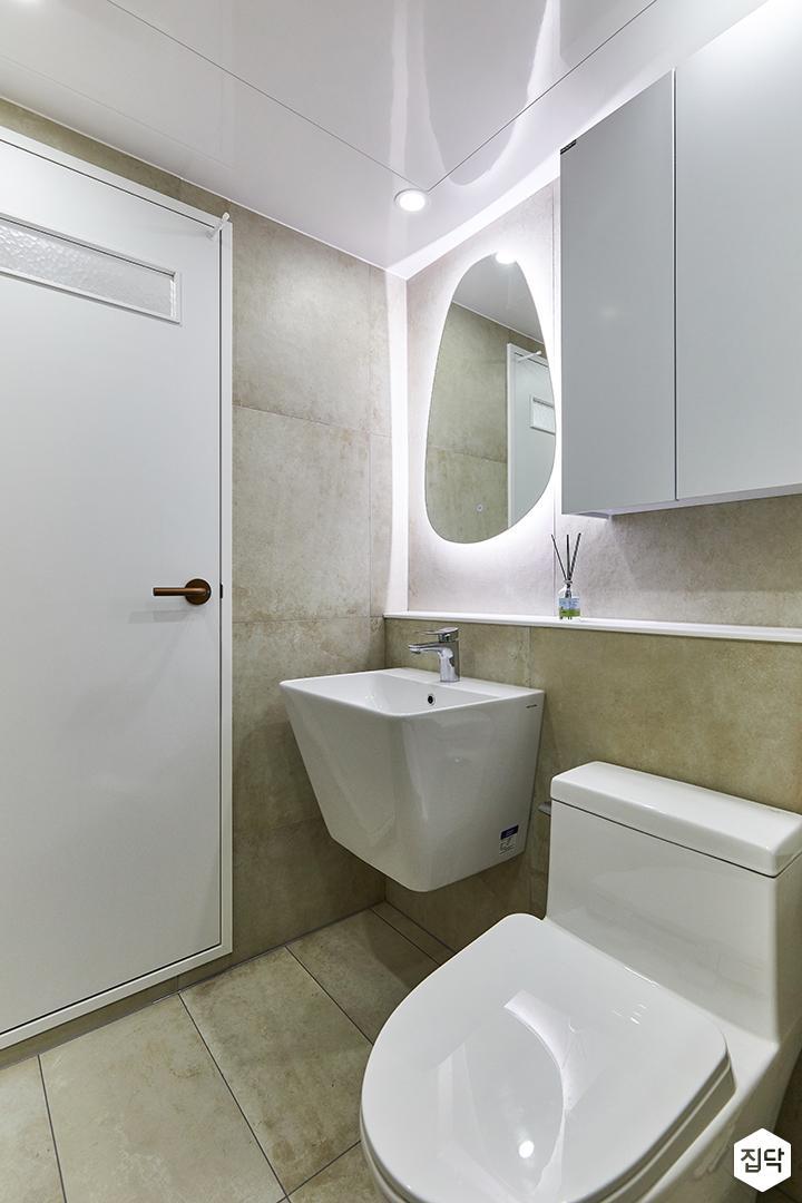 화이트,그레이,빈티지,뉴클래식,욕실,포세린,간접조명,수납장,세면대,거울