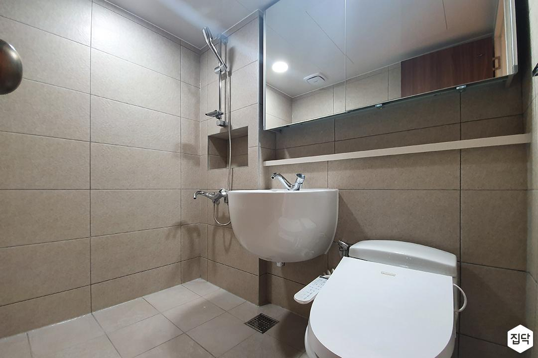 아이보리,모던,욕실,세면대,샤워기,거울