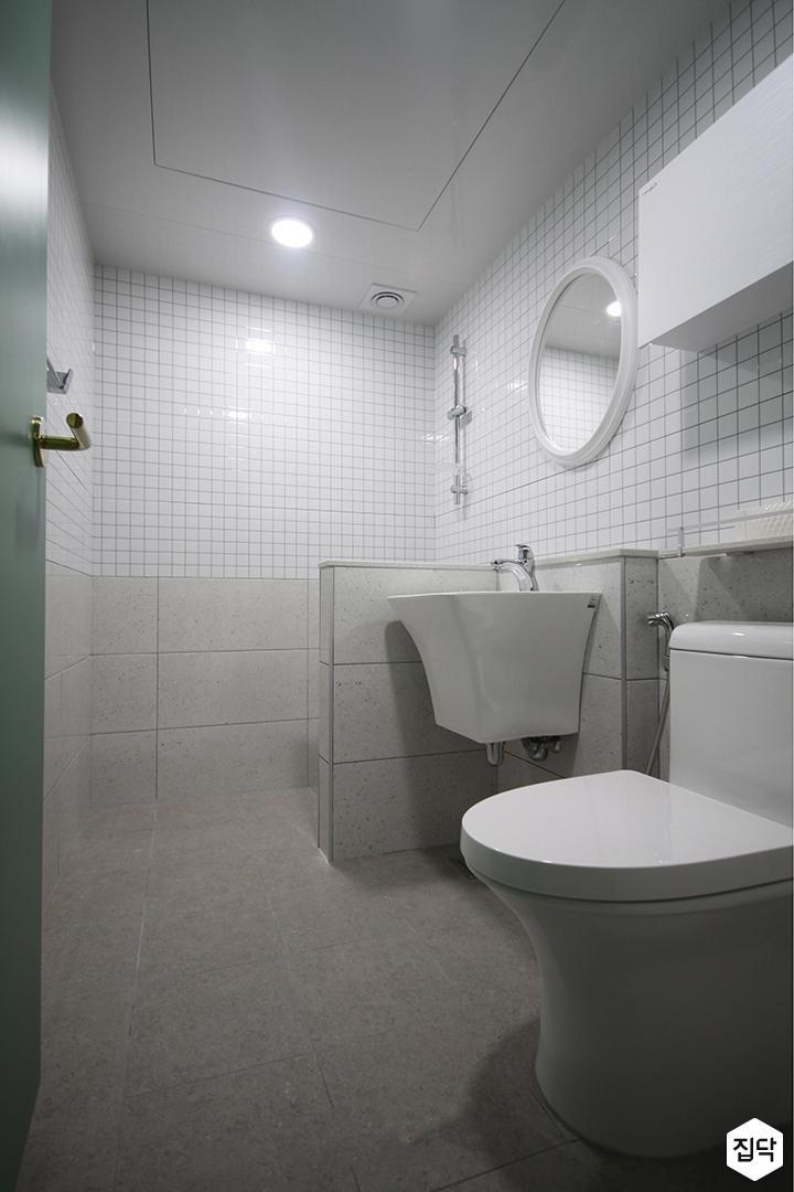 화이트,모던,욕실,세면대,샤워기,거울