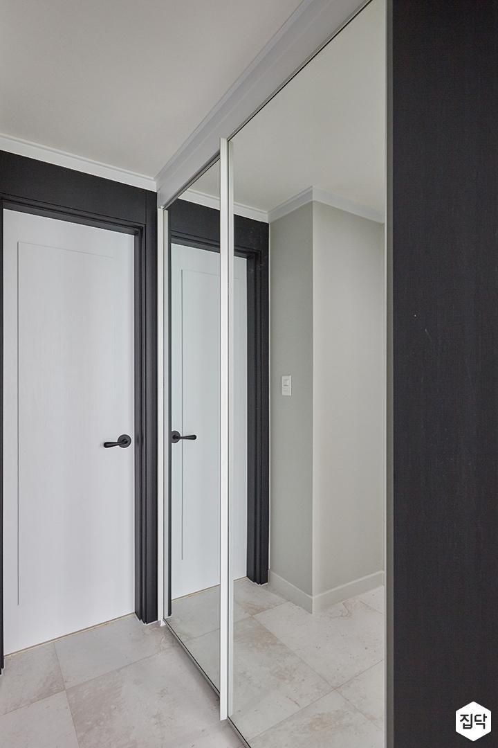 화이트,블랙,모던,심플,안방,욕실,붙박이장,거울