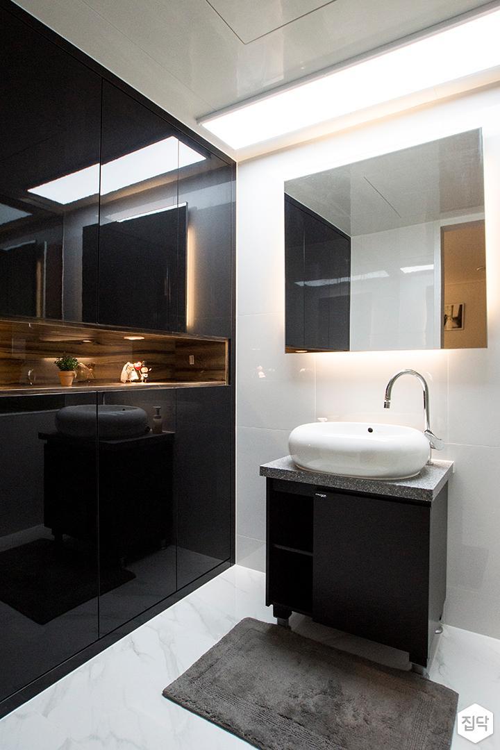 화이트,블랙,모던,욕실,세면대,거울
