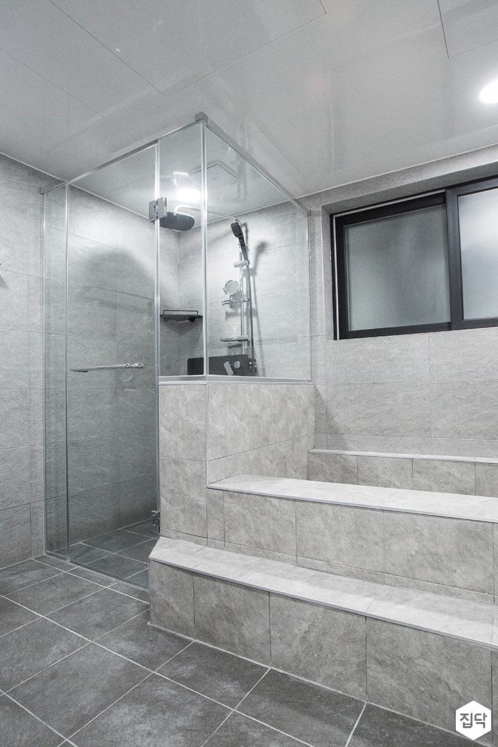 그레이,모던,욕실,유리파티션,욕조,샤워기