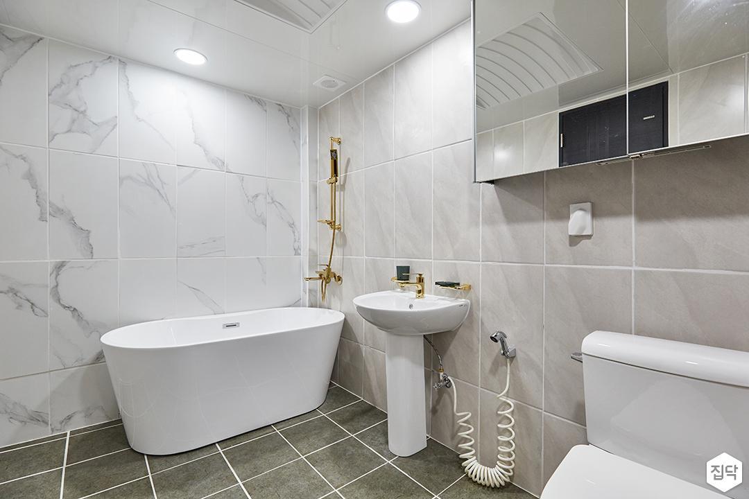 화이트,그레이,모던,심플,욕실,대리석,포세린,원형직부등,비앙코카라라,수납장,세면대,욕조,샤워기,거울