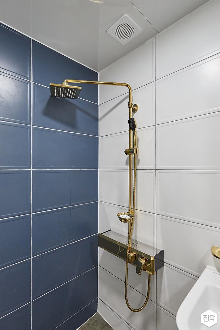 화이트,블루,모던,심플,욕실,샤워기