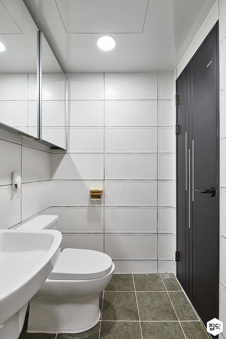화이트,그레이,모던,심플,욕실,원형직부등,거울,수납장,세면대
