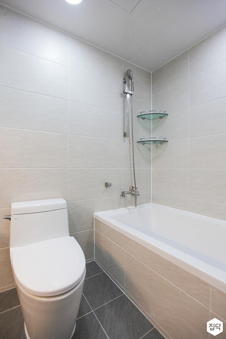 화이트,모던,뉴클래식,욕실,포세린,욕조,샤워기