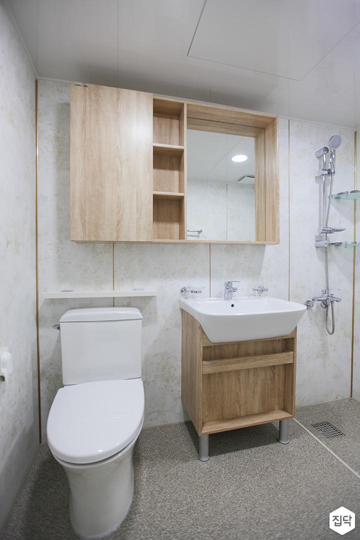 화이트,미니멀,심플,욕실,우드,수납장,세면대,샤워기,거울