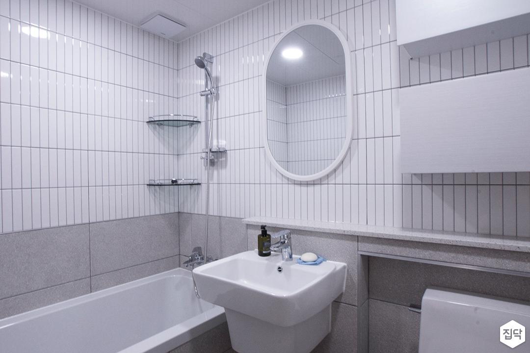 화이트,모던,욕실,세면대,욕조,샤워기,거울