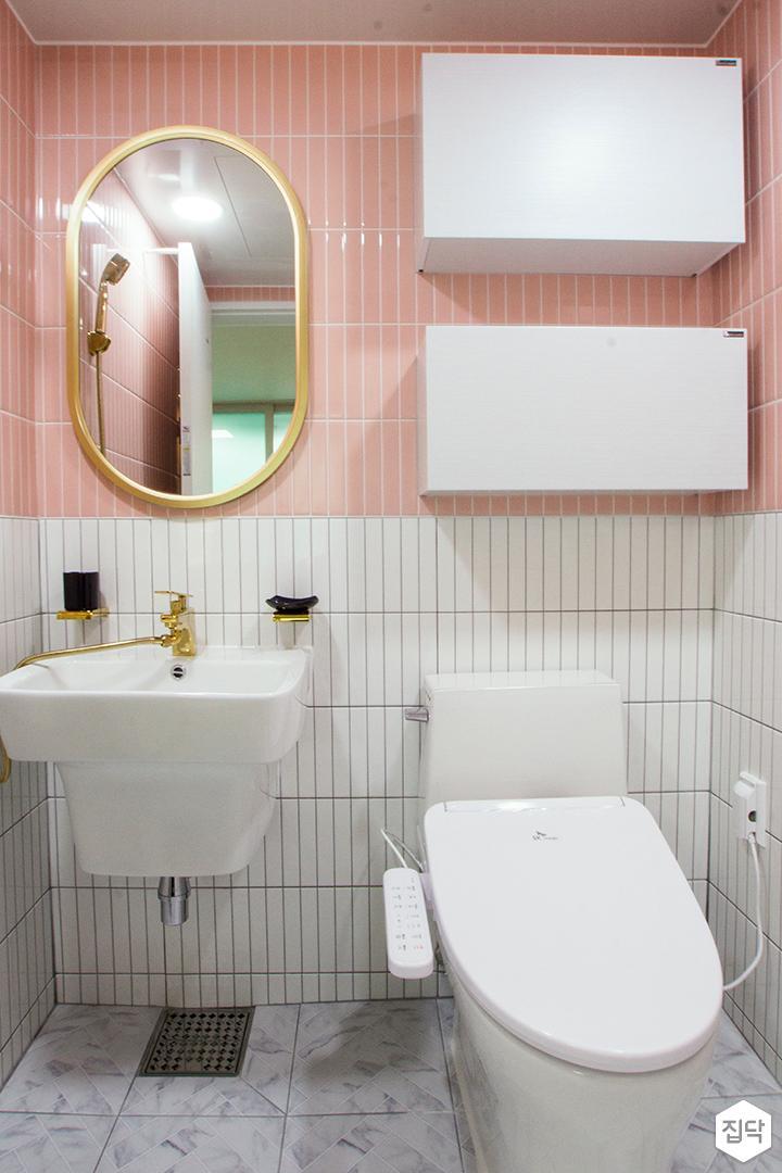 화이트,핑크,모던,욕실,세면대,거울