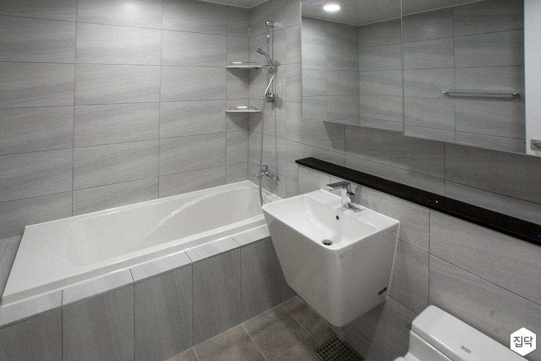 그레이,모던,욕실,세면대,욕조,거울