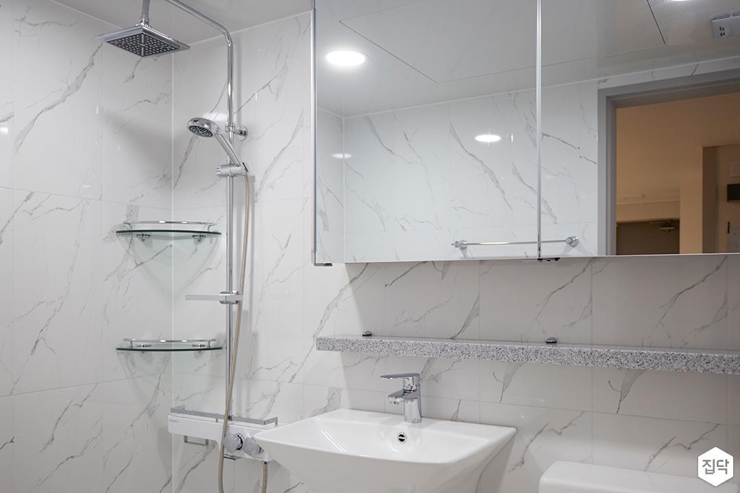 화이트,모던,욕실,세면대,거울,샤워기