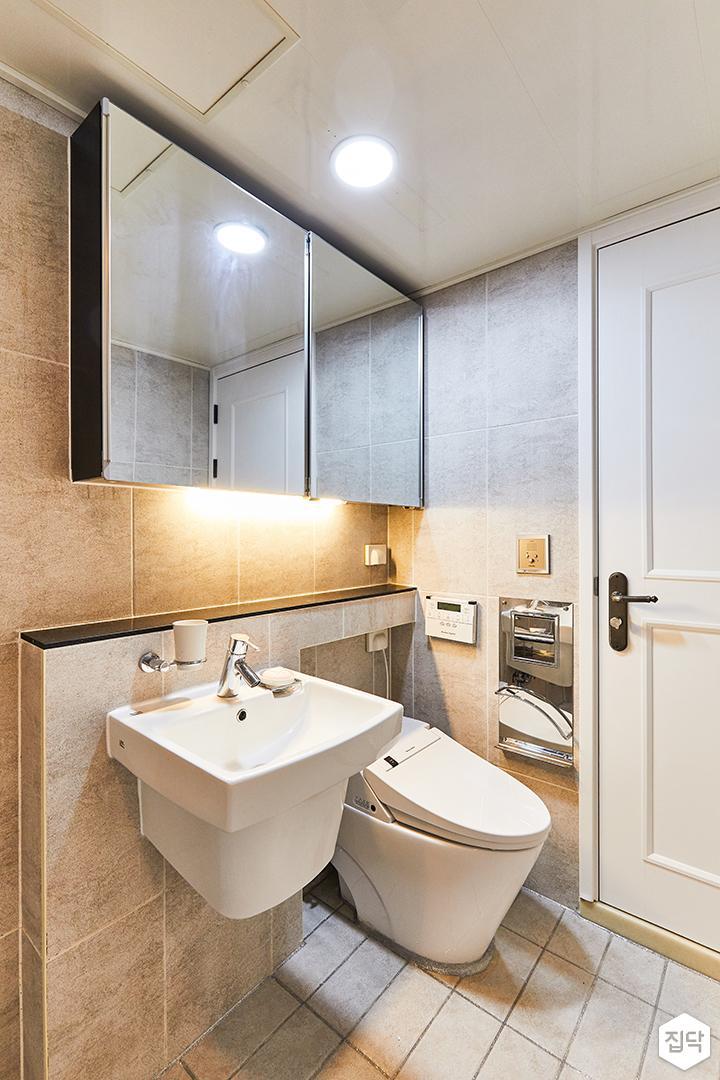 아이보리,모던,내추럴,욕실,포세린,매립등,간접조명,수납장,세면대,거울