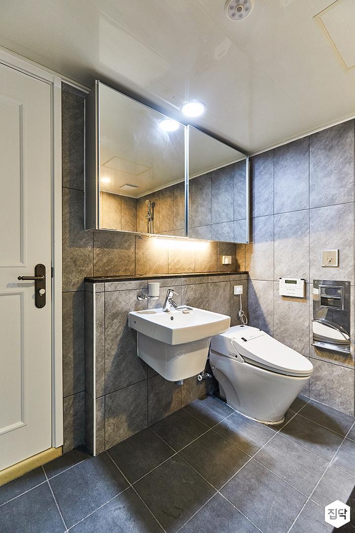 그레이,모던,빈티지,욕실,포세린,매립등,간접조명,세면대,수납장,거울