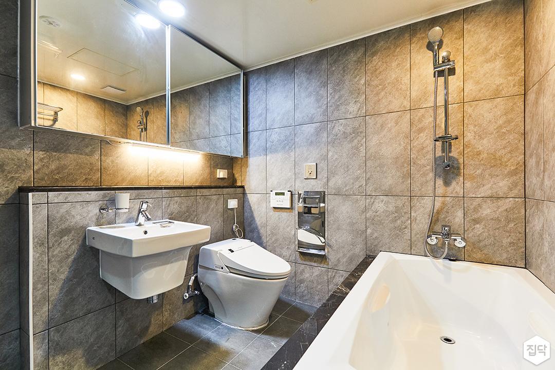 그레이,모던,빈티지,욕실,포세린,매립등,간접조명,세면대,수납장,거울,욕조,샤워기