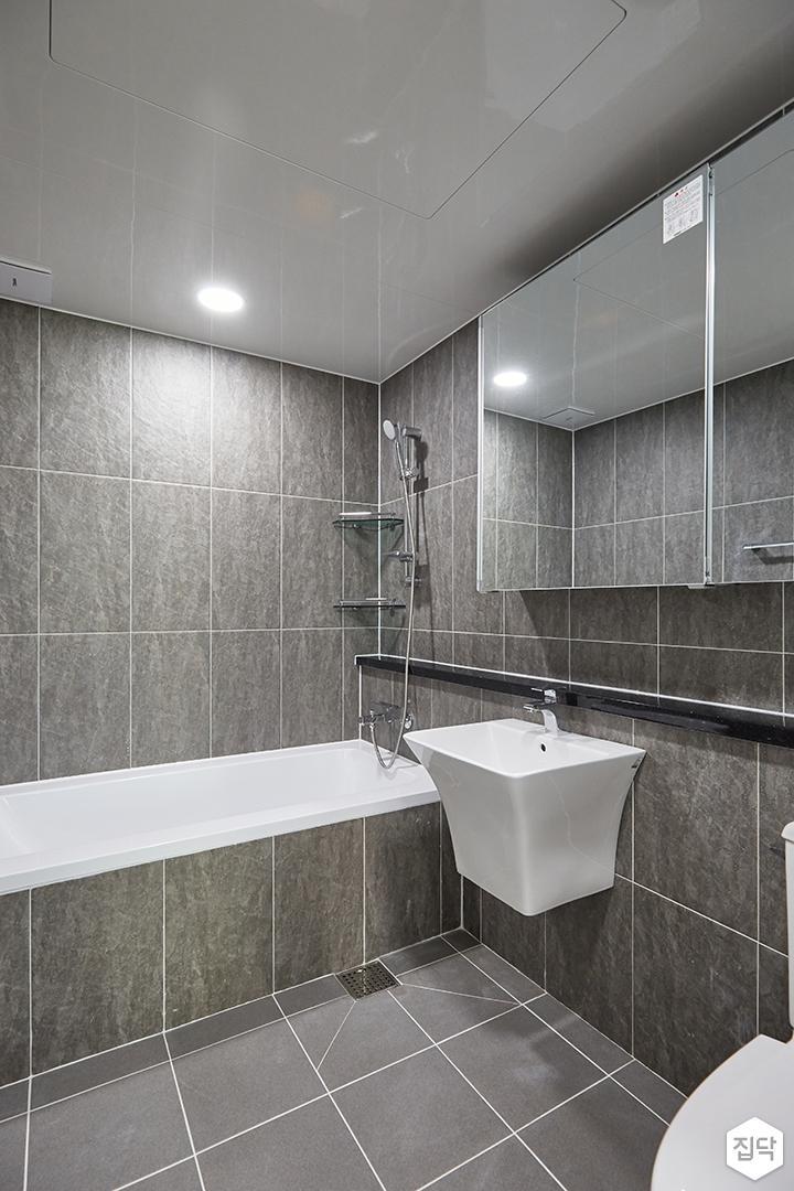 그레이,모던,심플,욕실,포세린,원형직부등,수납장,세면대,욕조,코너선반,샤워기,거울