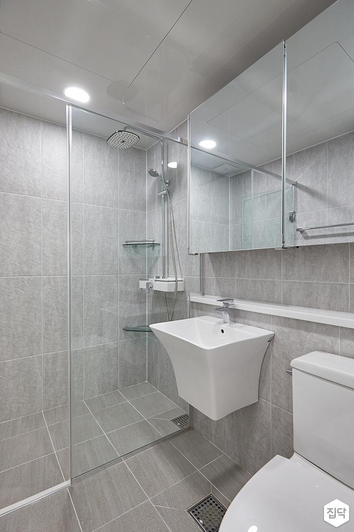 그레이,모던,심플,욕실,포세린,원형직부등,수납장,유리파티션,세면대,코너선반,샤워기,거울