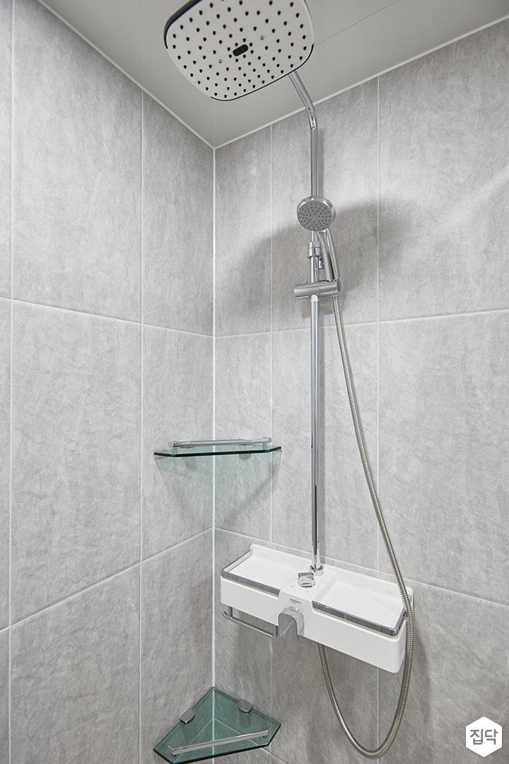 그레이,모던,심플,욕실,포세린,코너선반,샤워기