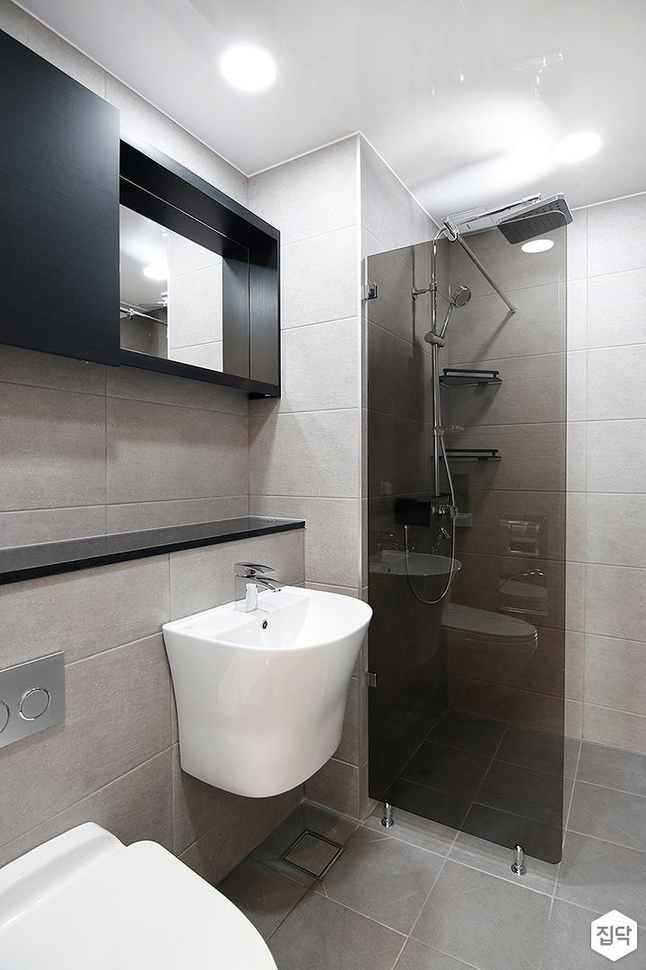그레이,모던,욕실,유리파티션,세면대,거울