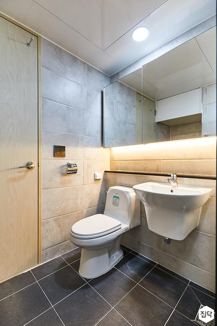 그레이,블랙,모던,심플,욕실,포세린,간접조명,매립등,세면대,수납장,거울