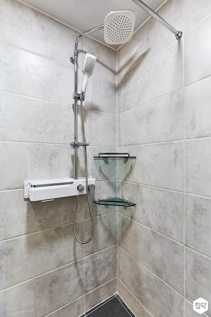 그레이,블랙,모던,심플,욕실,포세린,샤워기,코너선반