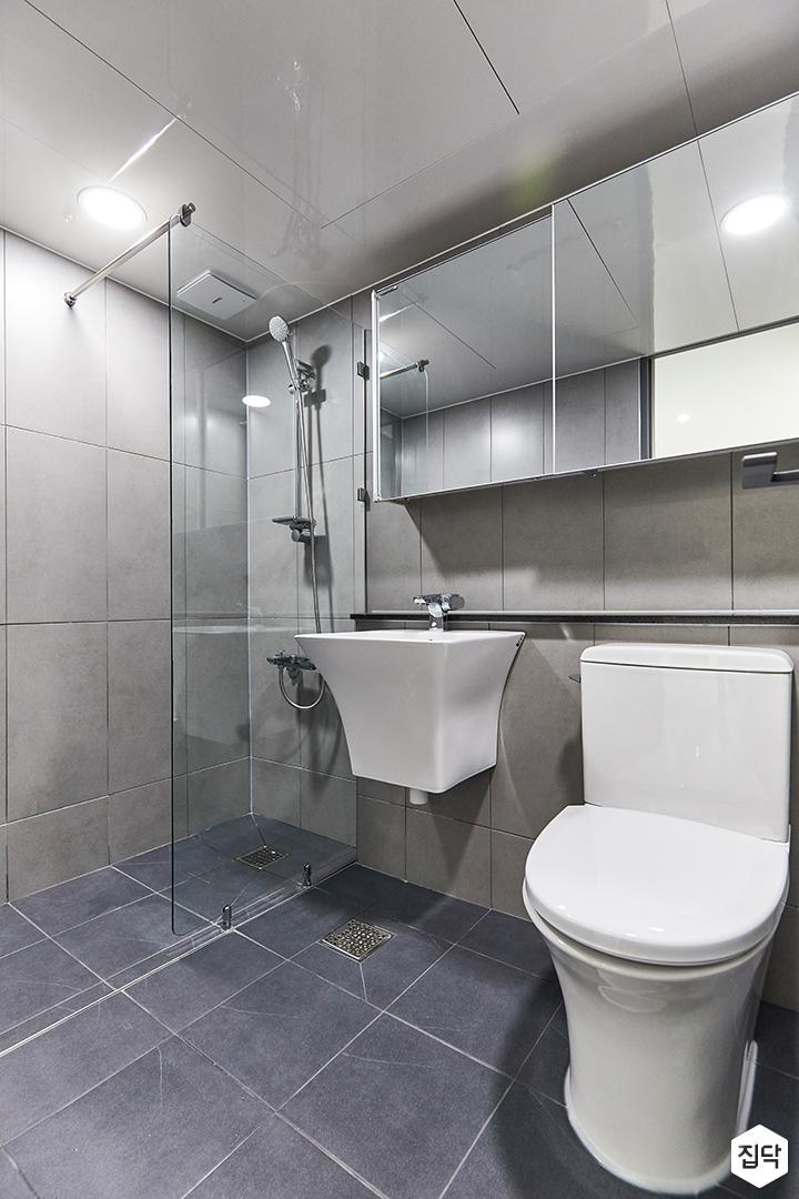 그레이,모던,심플,욕실,포세린,유리파티션,수납장,거울,세면대