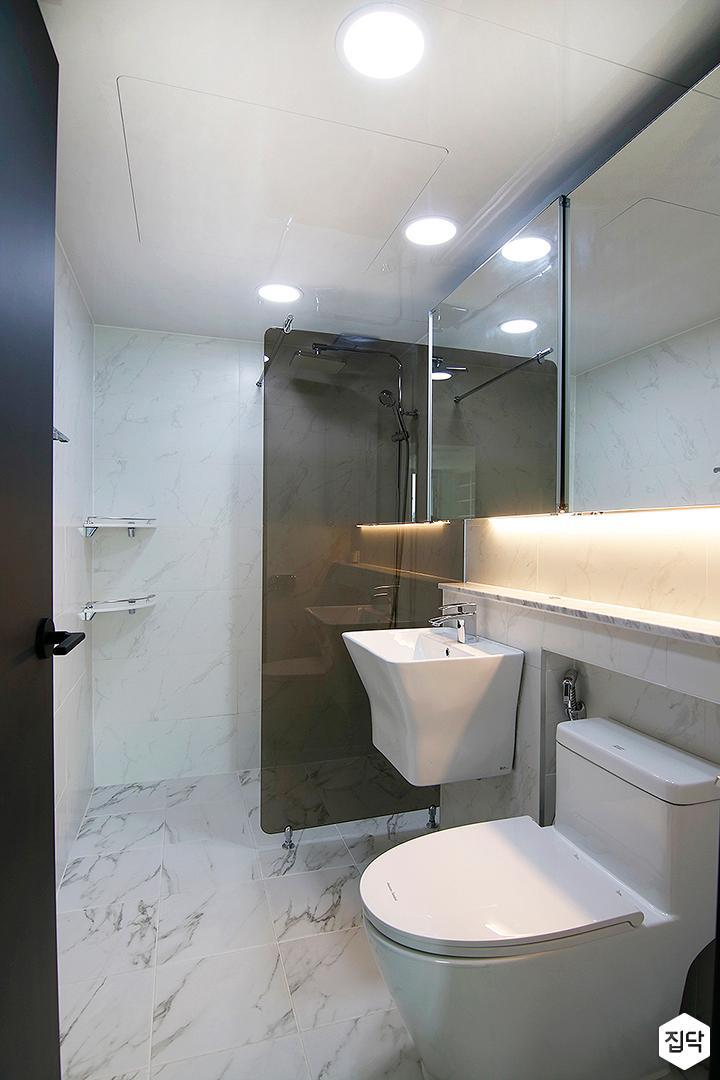 화이트,모던,세면대,거울,유리파티션,욕실