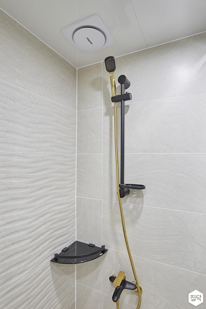 화이트,골드,모던,심플,욕실,포세린,패턴타일,코너선반,샤워기