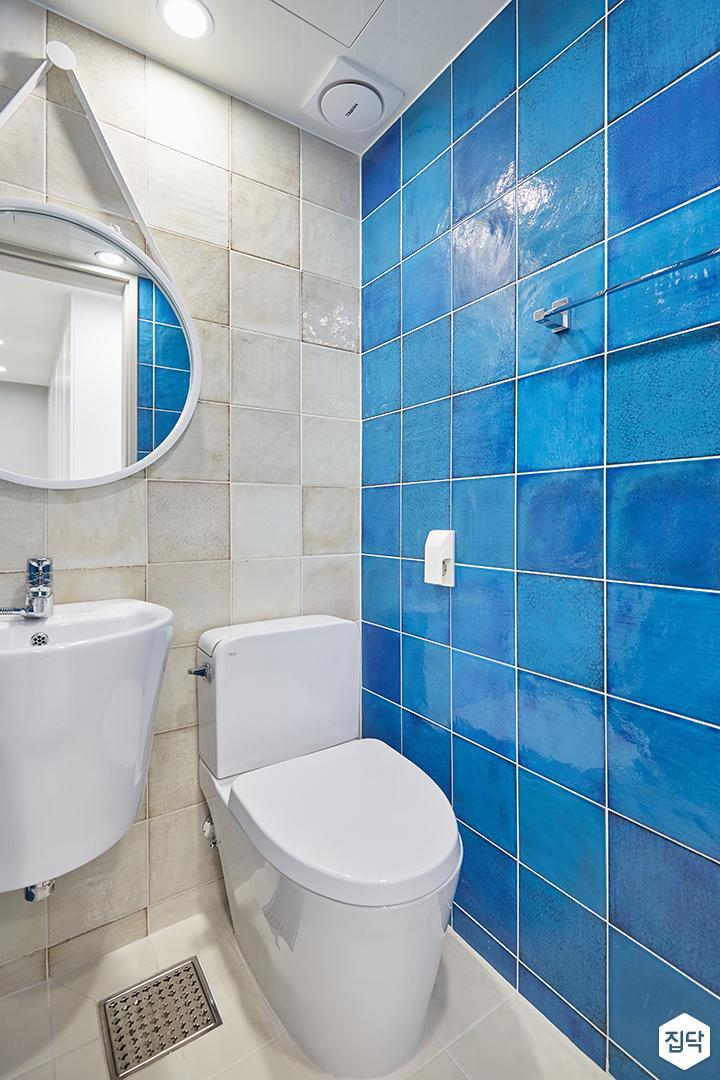 아이보리,블루,모던,심플,욕실,세면대,거울