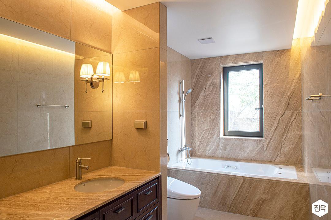 아이보리,내추럴,뉴클래식,욕실,세면대,욕조,거울