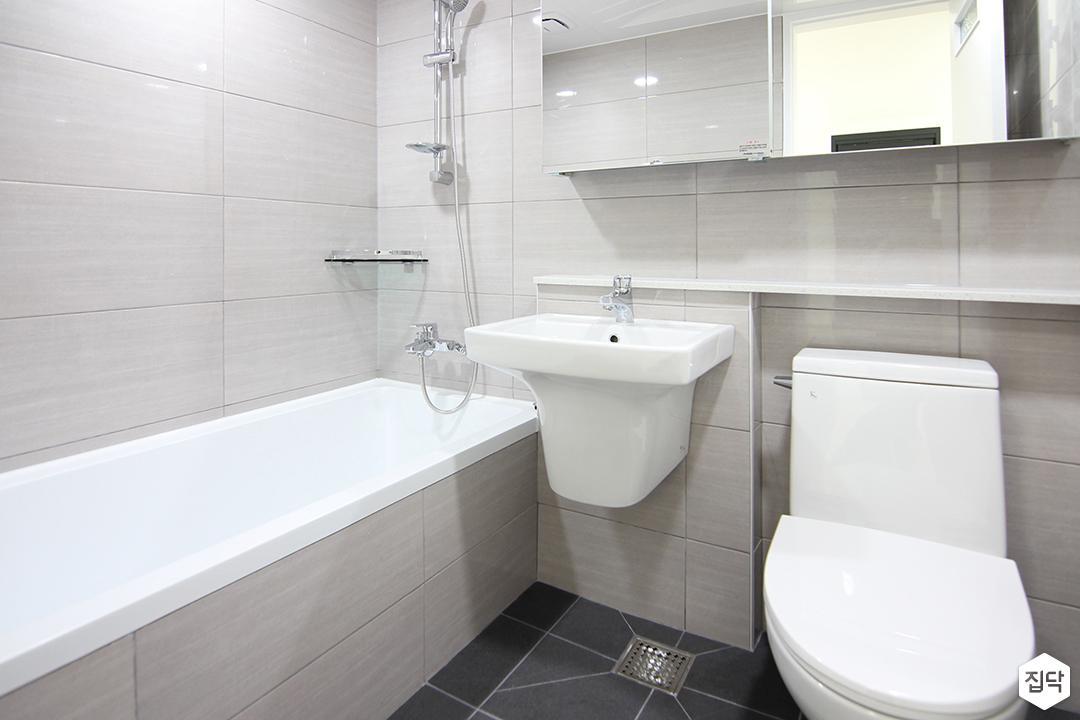 화이트,모던,욕실,세면대,거울,욕조