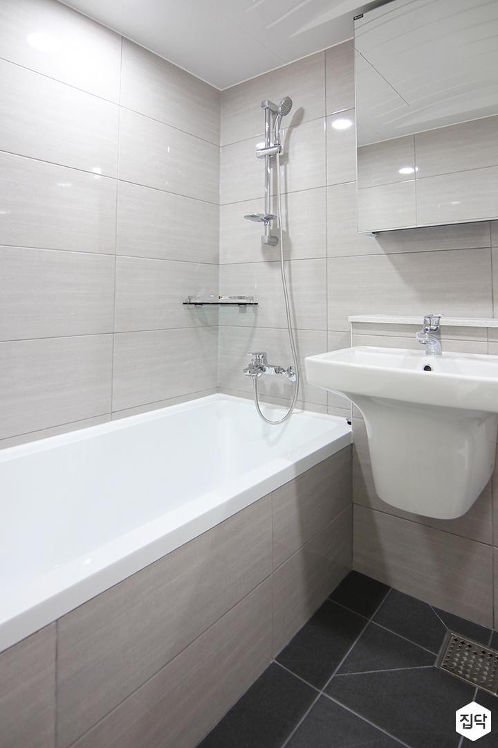화이트,모던,욕실,세면대,거울,욕조,샤워기