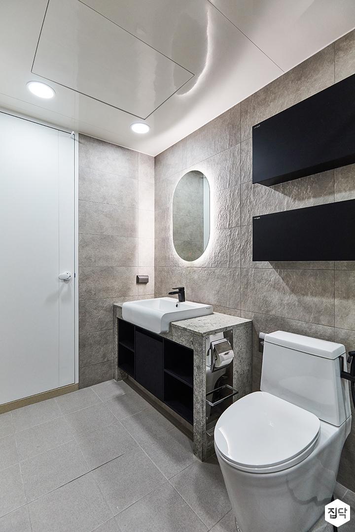 그레이,블랙,모던,뉴클래식,욕실,포세린,매립등,간접조명,수납장,세면대,거울