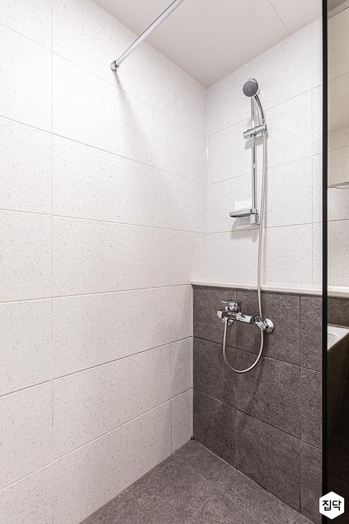 화이트,그레이,모던,욕실,샤워기