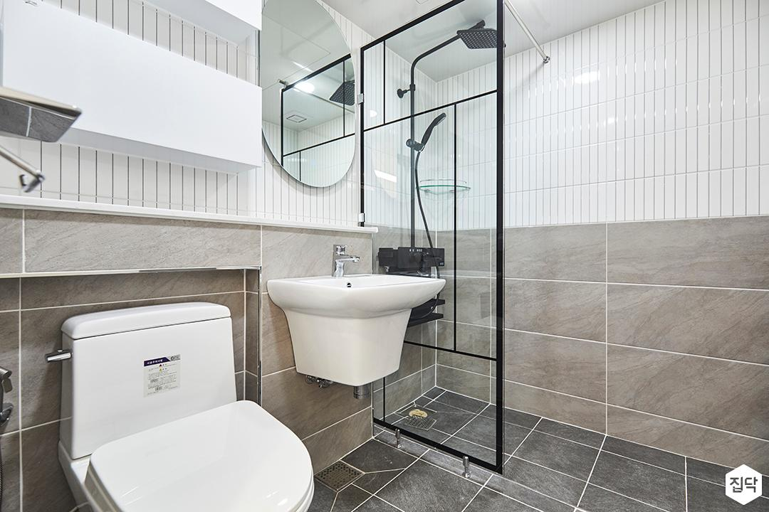 화이트,그레이,모던,욕실,세면대,거울,샤워기,유리파티션