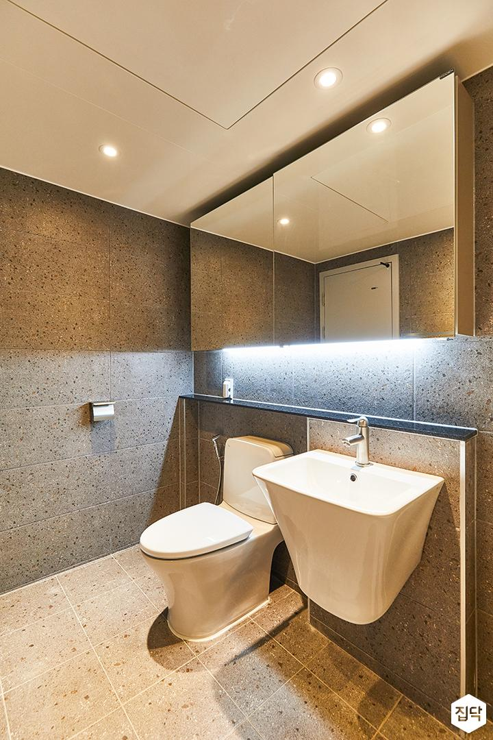 화이트,그레이,빈티지,뉴클래식,욕실,포세린,매립등,간접조명,세면대,거울,수납장