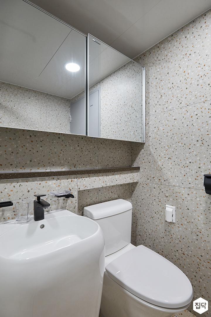 그레이,모던,심플,욕실,패턴타일,테라조,세면대,수납장,거울