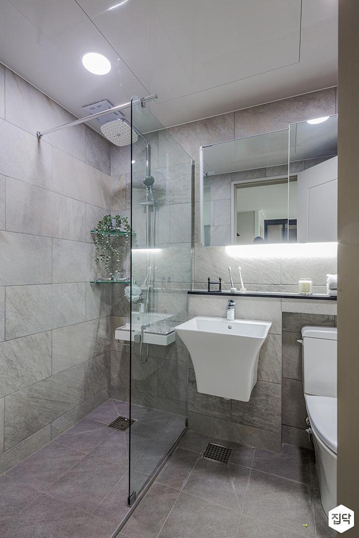 그레이,모던,욕실,세면대,거울,유리파티션,샤워기