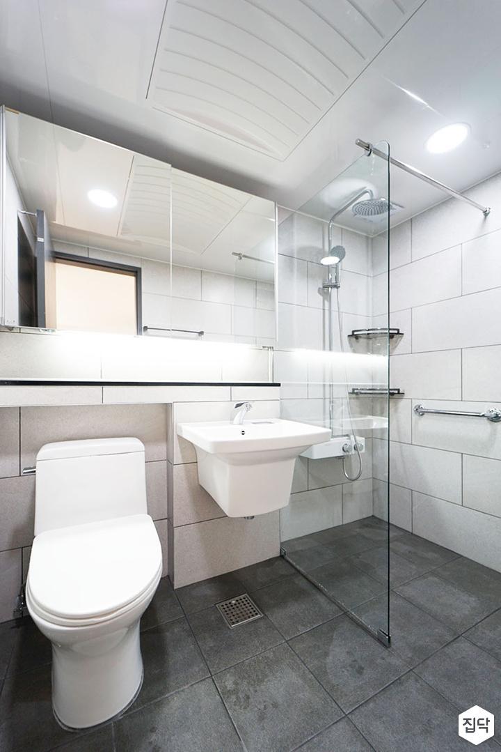 화이트,그레이,모던,욕실,세면대,거울,유리파티션