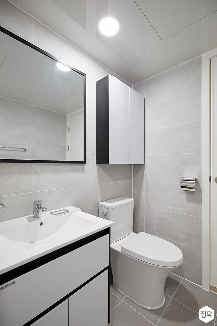 화이트,블랙,모던,심플,욕실,포세린,원형직부등,세면대,수납장,거울