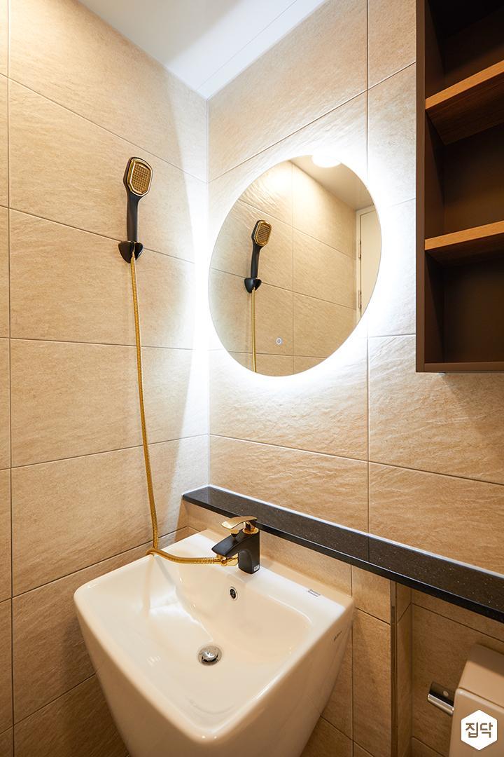 그레이,아이보리,모던,욕실,포세린,간접조명,세면대,거울