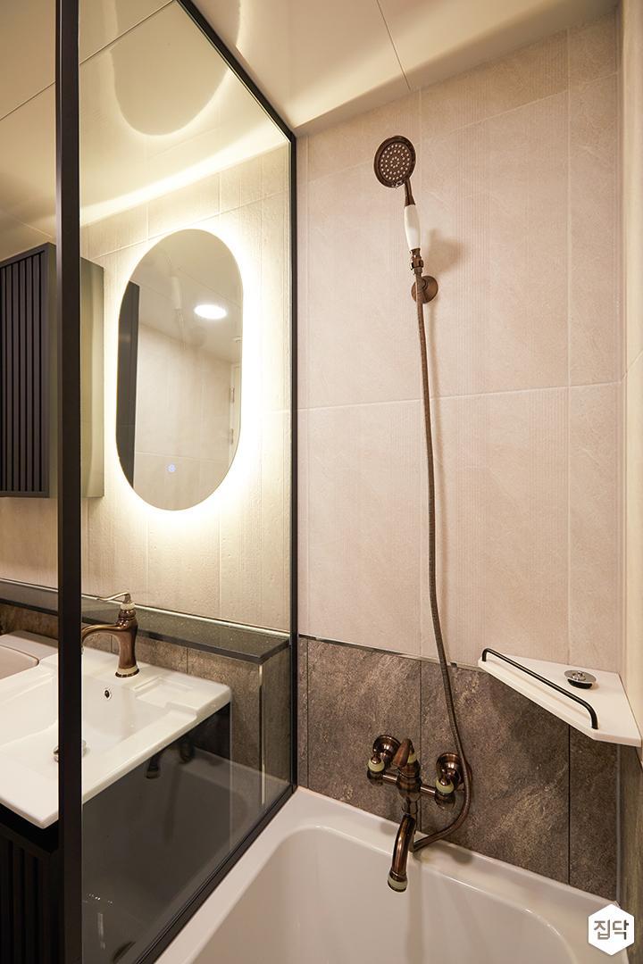 그레이,아이보리,모던,욕실,포세린,간접조명,욕조,유리파티션