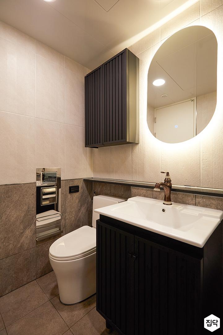 그레이,아이보리,모던,욕실,포세린,간접조명,수납장,세면대,거울