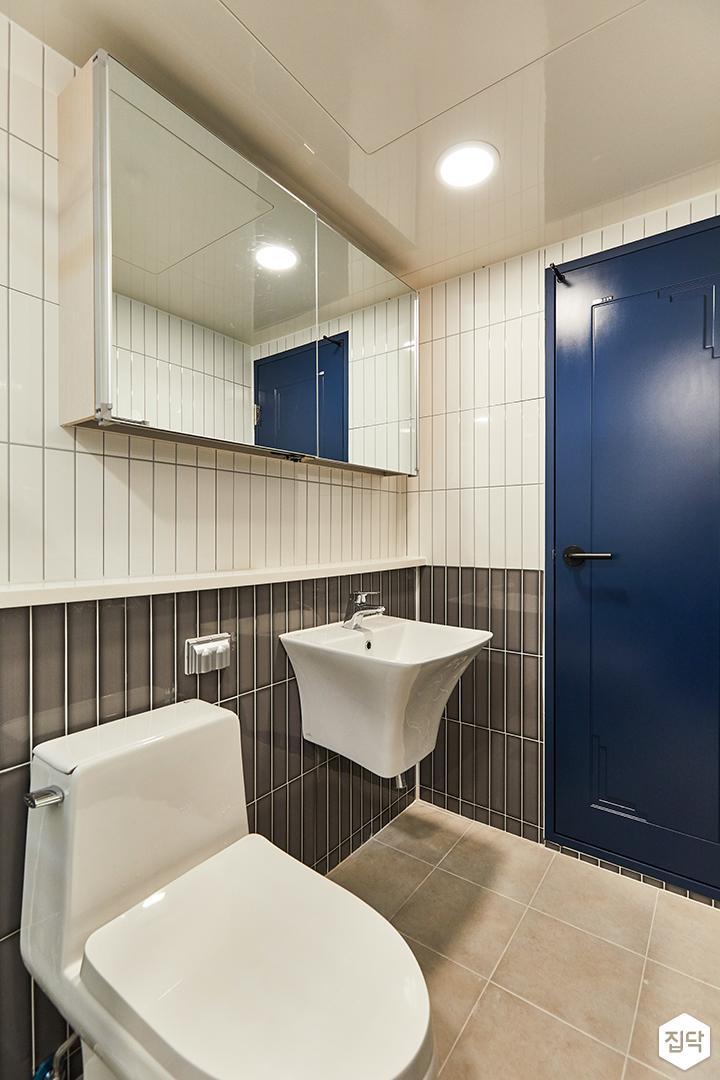 화이트,그레이,미니멀,심플,욕실,욕실타일,매립등,수납장,세면대,거울