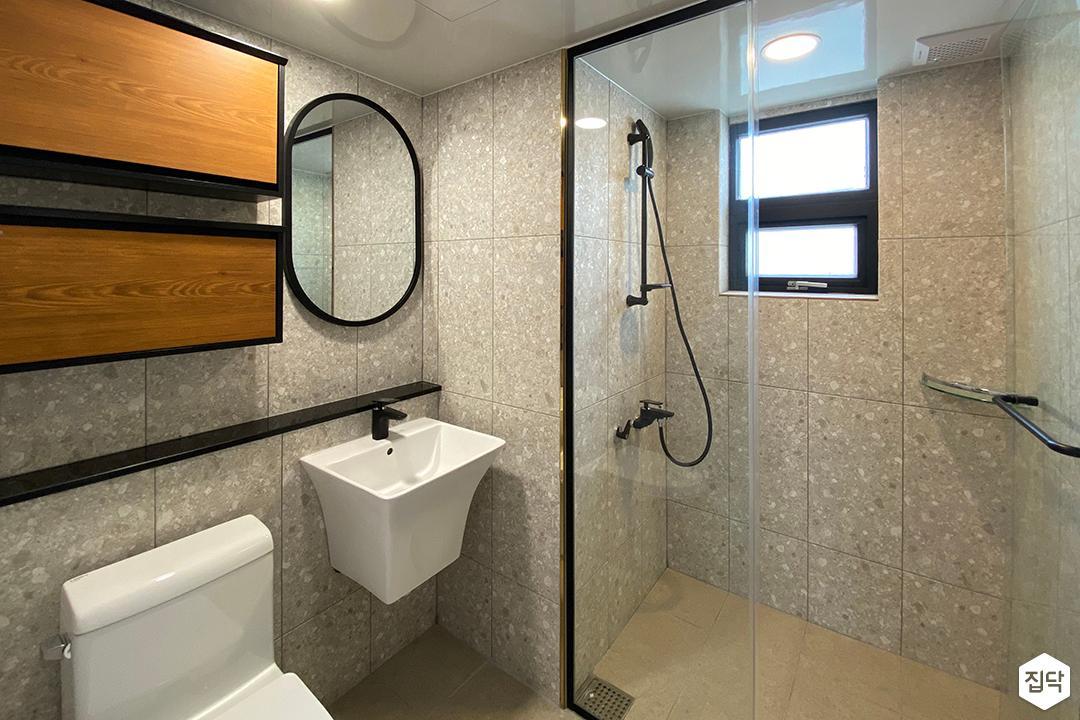 그레이,모던,욕실,세면대,거울,샤워기,유리파티션