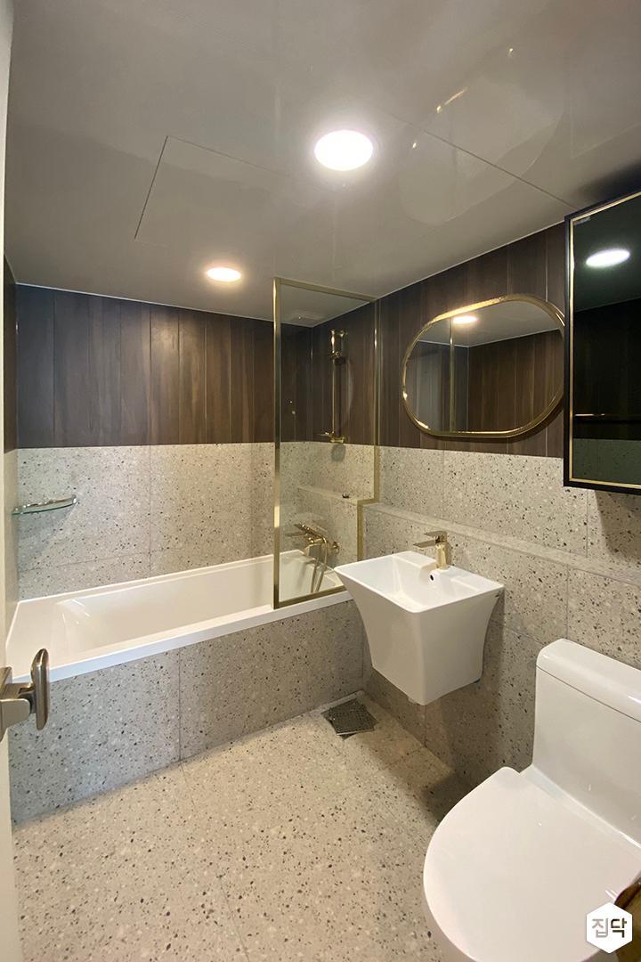 그레이,브라운,모던,욕실,욕조,세면대,거울