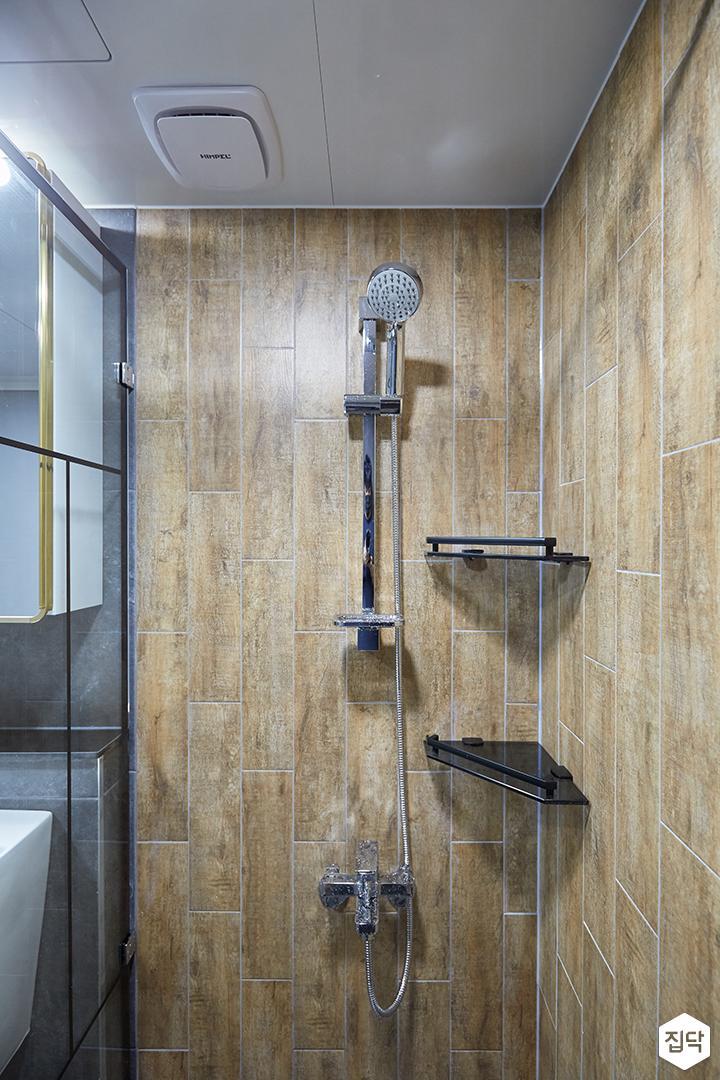 그레이,브라운,모던,심플,욕실,포세린,코너선반,샤워기