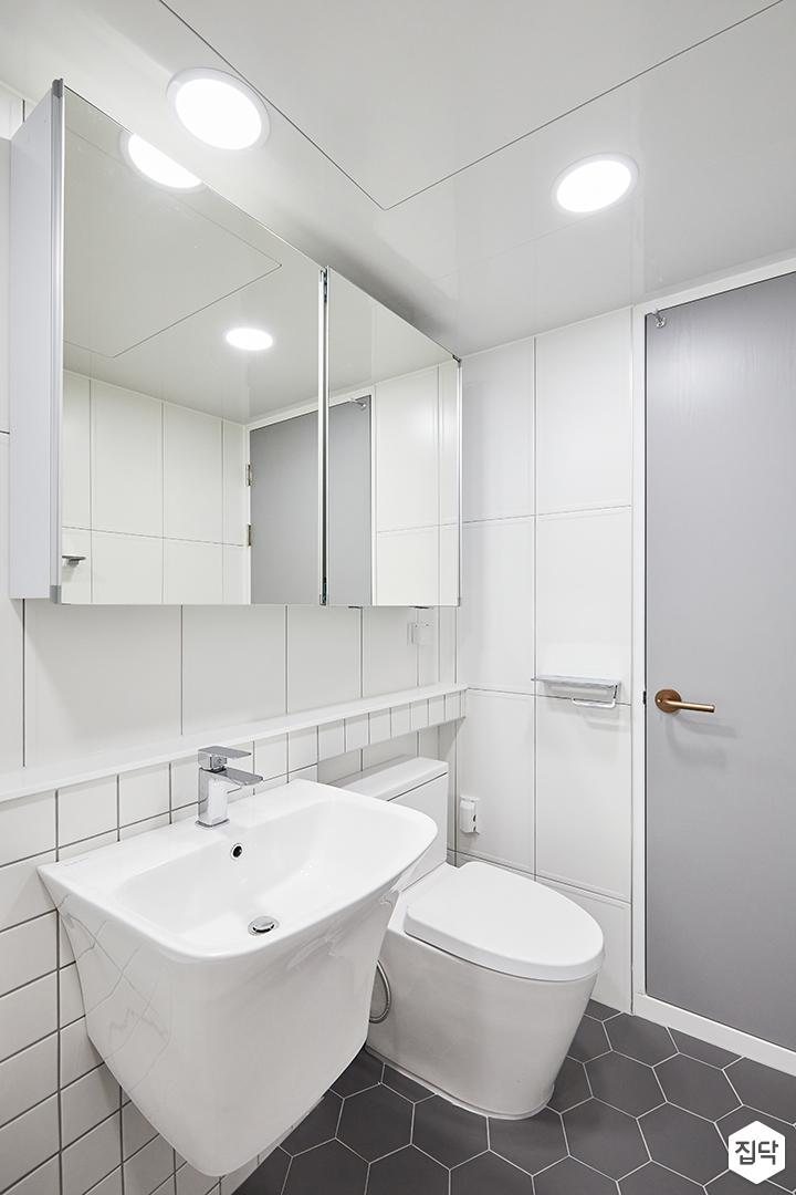 화이트,내추럴,심플,욕실,욕실타일,원형직부등,헥사곤,수납장,세면대,거울