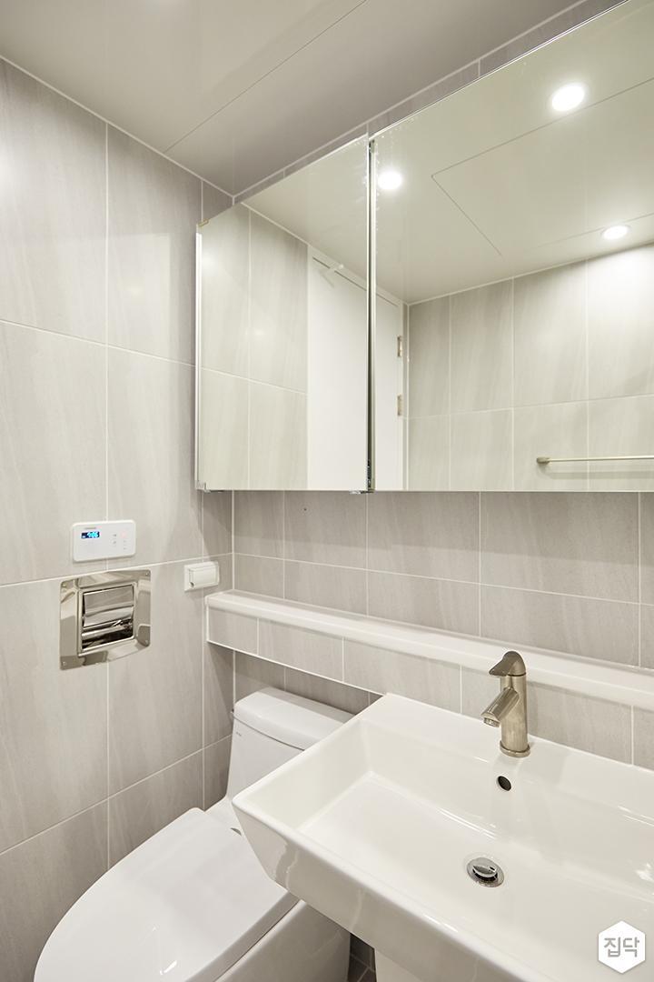 그레이,모던,심플,욕실,포세린,매립등,다운라이트조명,수납장,세면대,거울