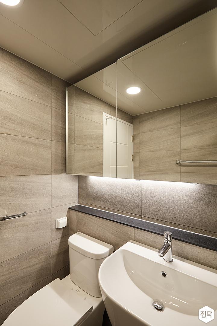 그레이,모던,심플,욕실,원형직부등,간접조명,세면대,수납장,거울